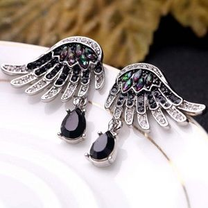 Crystal Feather Drop Earrings